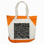 Digitally Created Peacock Feather Pattern In Black And White Accent Tote Bag Front