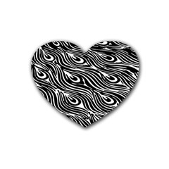 Digitally Created Peacock Feather Pattern In Black And White Rubber Coaster (heart)