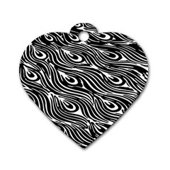 Digitally Created Peacock Feather Pattern In Black And White Dog Tag Heart (one Side)