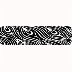 Digitally Created Peacock Feather Pattern In Black And White Large Bar Mats