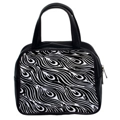 Digitally Created Peacock Feather Pattern In Black And White Classic Handbags (2 Sides)