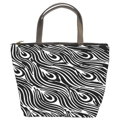Digitally Created Peacock Feather Pattern In Black And White Bucket Bags
