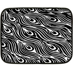 Digitally Created Peacock Feather Pattern In Black And White Fleece Blanket (mini)