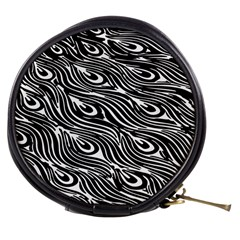 Digitally Created Peacock Feather Pattern In Black And White Mini Makeup Bags