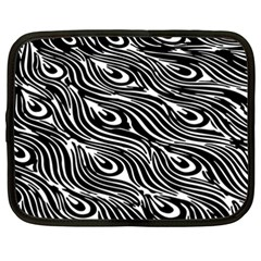 Digitally Created Peacock Feather Pattern In Black And White Netbook Case (xxl)