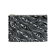 Digitally Created Peacock Feather Pattern In Black And White Cosmetic Bag (Medium)