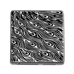 Digitally Created Peacock Feather Pattern In Black And White Memory Card Reader (square)