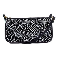Digitally Created Peacock Feather Pattern In Black And White Shoulder Clutch Bags