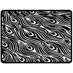 Digitally Created Peacock Feather Pattern In Black And White Fleece Blanket (large)