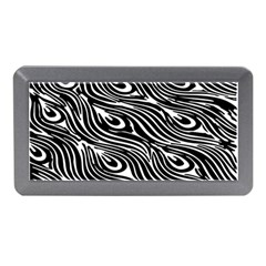 Digitally Created Peacock Feather Pattern In Black And White Memory Card Reader (Mini)