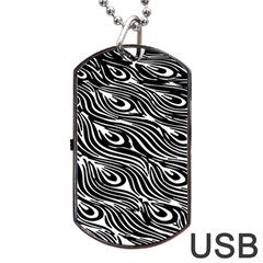 Digitally Created Peacock Feather Pattern In Black And White Dog Tag USB Flash (One Side)