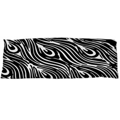 Digitally Created Peacock Feather Pattern In Black And White Body Pillow Case (Dakimakura)