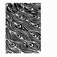Digitally Created Peacock Feather Pattern In Black And White Large Garden Flag (two Sides)