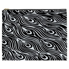 Digitally Created Peacock Feather Pattern In Black And White Cosmetic Bag (XXXL)
