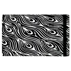 Digitally Created Peacock Feather Pattern In Black And White Apple Ipad 3/4 Flip Case