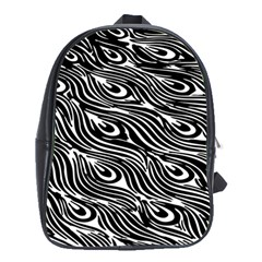 Digitally Created Peacock Feather Pattern In Black And White School Bags (XL)