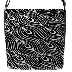 Digitally Created Peacock Feather Pattern In Black And White Flap Messenger Bag (S)