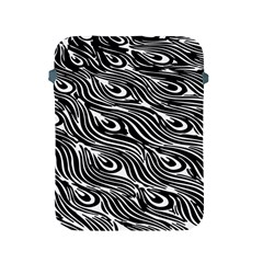 Digitally Created Peacock Feather Pattern In Black And White Apple iPad 2/3/4 Protective Soft Cases