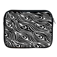 Digitally Created Peacock Feather Pattern In Black And White Apple iPad 2/3/4 Zipper Cases