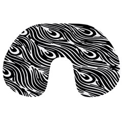 Digitally Created Peacock Feather Pattern In Black And White Travel Neck Pillows
