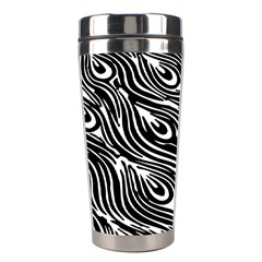 Digitally Created Peacock Feather Pattern In Black And White Stainless Steel Travel Tumblers