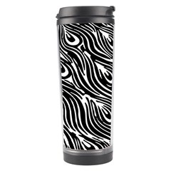 Digitally Created Peacock Feather Pattern In Black And White Travel Tumbler