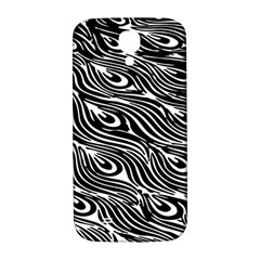 Digitally Created Peacock Feather Pattern In Black And White Samsung Galaxy S4 I9500/I9505  Hardshell Back Case