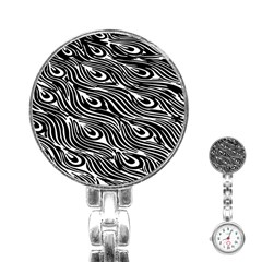 Digitally Created Peacock Feather Pattern In Black And White Stainless Steel Nurses Watch