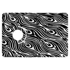 Digitally Created Peacock Feather Pattern In Black And White Kindle Fire HDX Flip 360 Case