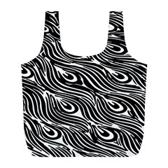 Digitally Created Peacock Feather Pattern In Black And White Full Print Recycle Bags (L)