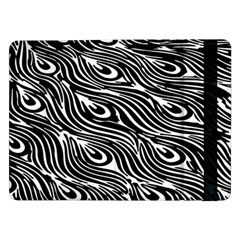 Digitally Created Peacock Feather Pattern In Black And White Samsung Galaxy Tab Pro 12.2  Flip Case