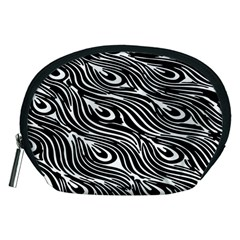 Digitally Created Peacock Feather Pattern In Black And White Accessory Pouches (Medium)