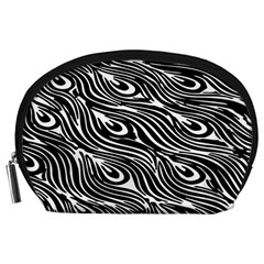 Digitally Created Peacock Feather Pattern In Black And White Accessory Pouches (Large)