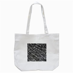 Digitally Created Peacock Feather Pattern In Black And White Tote Bag (White)