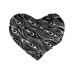Digitally Created Peacock Feather Pattern In Black And White Standard 16  Premium Flano Heart Shape Cushions