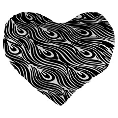 Digitally Created Peacock Feather Pattern In Black And White Large 19  Premium Flano Heart Shape Cushions