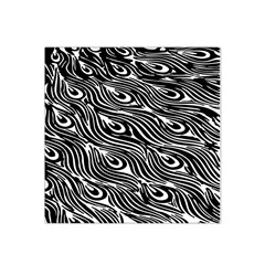 Digitally Created Peacock Feather Pattern In Black And White Satin Bandana Scarf