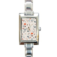 Seamless Floral Patterns  Rectangle Italian Charm Watch