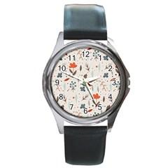Seamless Floral Patterns  Round Metal Watch