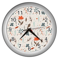 Seamless Floral Patterns  Wall Clocks (Silver)