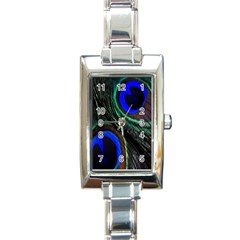 Peacock Feather Rectangle Italian Charm Watch