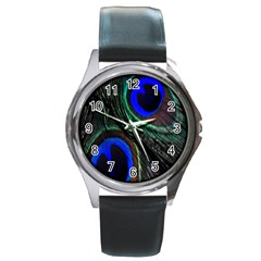 Peacock Feather Round Metal Watch
