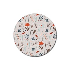 Seamless Floral Patterns  Rubber Coaster (Round)