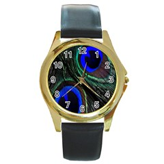 Peacock Feather Round Gold Metal Watch