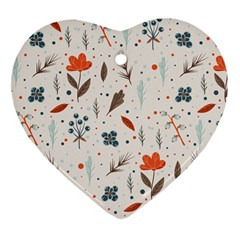 Seamless Floral Patterns  Heart Ornament (Two Sides)
