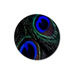 Peacock Feather Rubber Coaster (Round)  Front