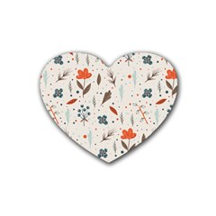 Seamless Floral Patterns  Rubber Coaster (Heart)