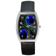 Peacock Feather Barrel Style Metal Watch