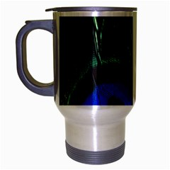 Peacock Feather Travel Mug (Silver Gray)