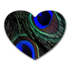 Peacock Feather Heart Mousepads